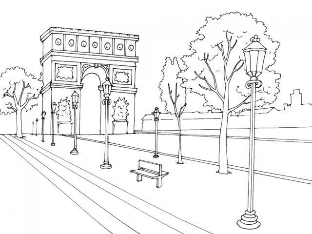 coloriage paris arc de triomphe