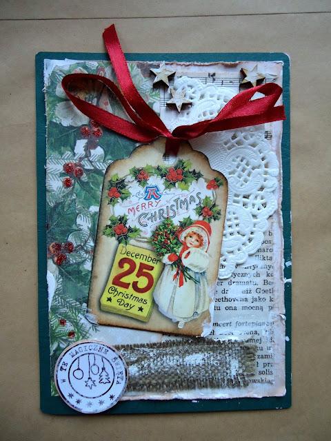 kartka na boże narodzenie hand made, ręcznie robiona kartka świateczna z mikołajem.