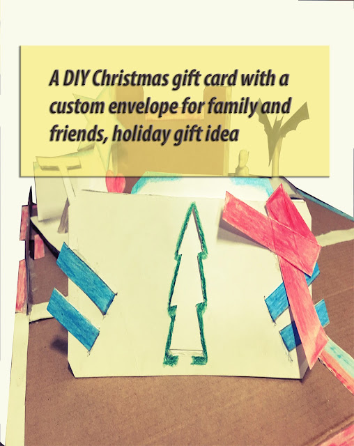 A DIY Christmas gift card with a custom envelope for family and friends, holiday gift idea
