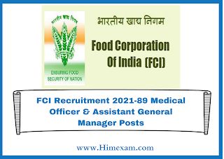 FCI Recruitment 2021-89 Medical Officer & Assistant General Manager Posts
