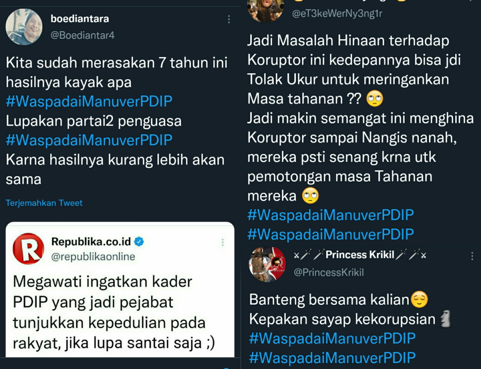 Trending Tagar #WaspadaiManuverPDIP, Netizen: Kepak Sayap Kekorupsian!