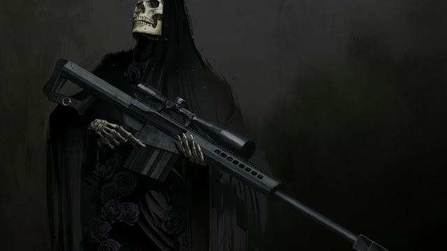 fucile, morte, scheletro,