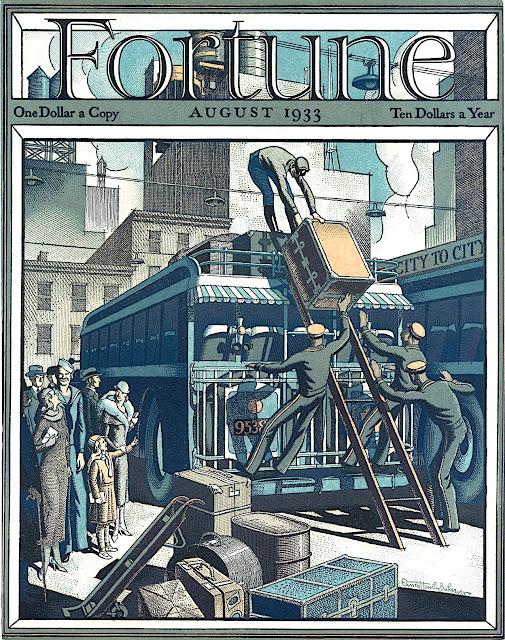 an Ernest Hamlin Baker 1933 illustration for FORTUNE Magazine August 1933, men loading luggage on a bus roof