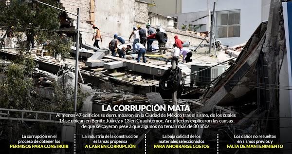 """Al menos 47 edificios colapsaron por la corrupción, por """"ahorrar"""" dinero, denuncian especialistas"""