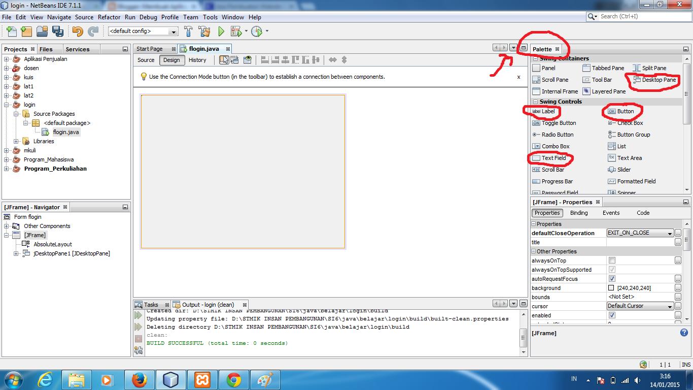 Cara  Membuat Form Login Netbeans menggunakan database mysql