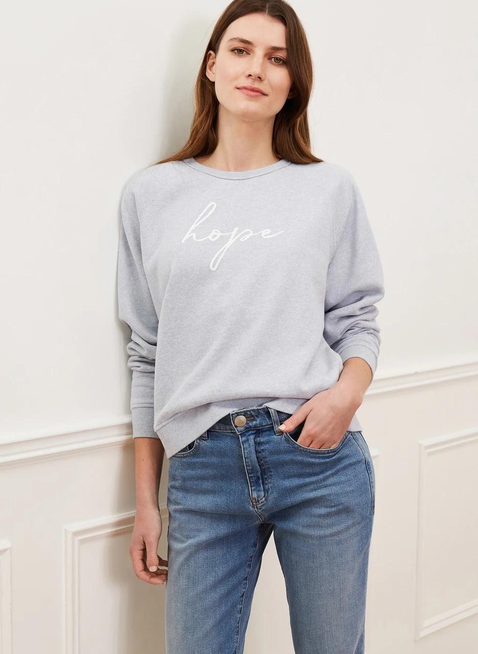 my midlife fashion, baukjen Tampa organic sweatshirt