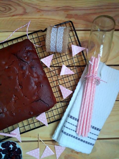Brownie chocolate arándanos jalea nueces Cuca postre fácil rápido sencillo