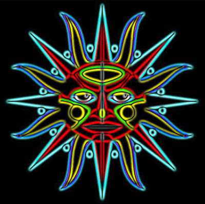 Neon junkanoo sun digital art.