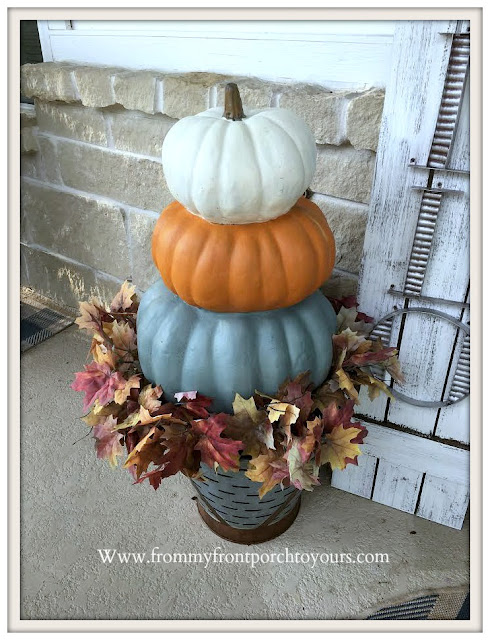 Chalk- Painted- Pumpkin-Stack-Blue-Gray-Orange-White-Porch-Decor-From My Front Porch To Yours