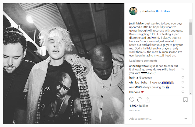 Nakiusap si Justin Bieber sa kanyang Fans sa Instagram for Prayer