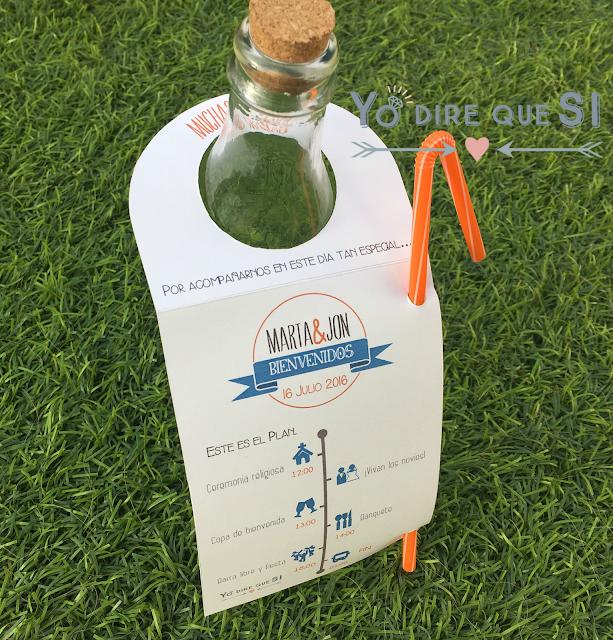 Etiquetas para botellas con el programa de la ceremonia de tu boda.