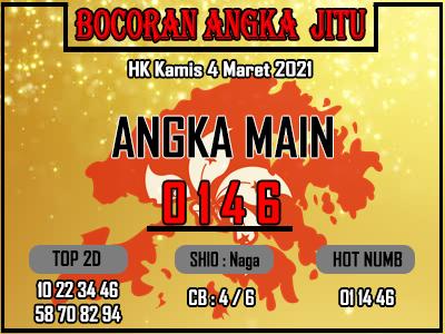 Bocoran HK 2D Kamis 4 Maret 2021