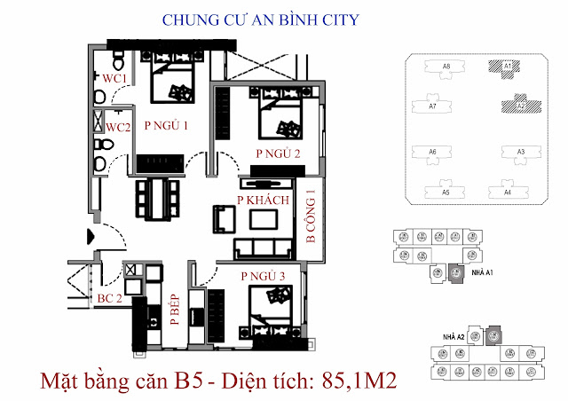 mặt bằng căn hộ b5 - Diện tích 85,1m2