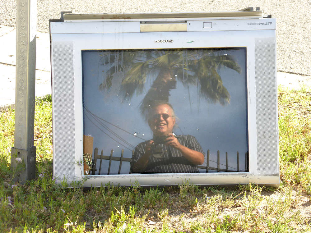 David Ocker's selfie in an abandoned television