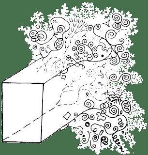Ilustrace kubisomkracie. Obrázek kvádru, který se s ustupující perspektivou rozpadá na jakousi biomorfní změť... (Autor: Sebastián Wortys)
