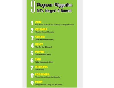 MTsN 9 Bantul memiliki 9 Program Unggulan