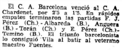 Recorte de La Vanguardia sobre el campeonato de España de ajedrez por equipos