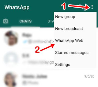 three dot par click kar whatsapp web par click kare