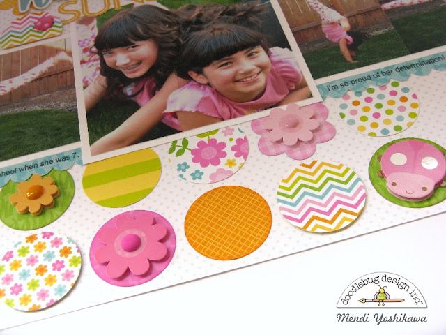 Doodlebug Design Spring Garden Circle Grid Scrapbook Layout by Mendi Yoshikawa