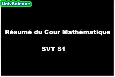Résumé du Cour Mathématique SVT S1.