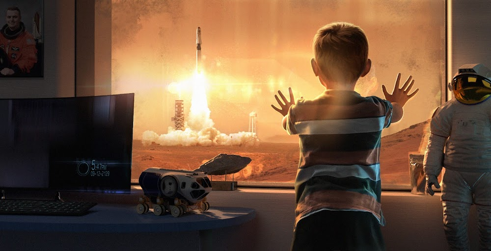 Boy watching a rocket launch from Mars by Arthur Gore