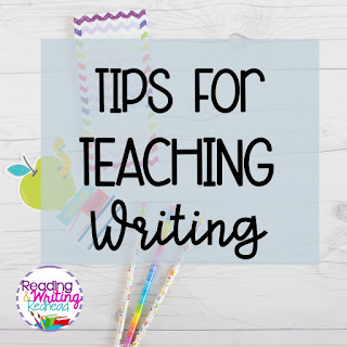 Image of pencils on wood background and label Tips for Teaching Writing