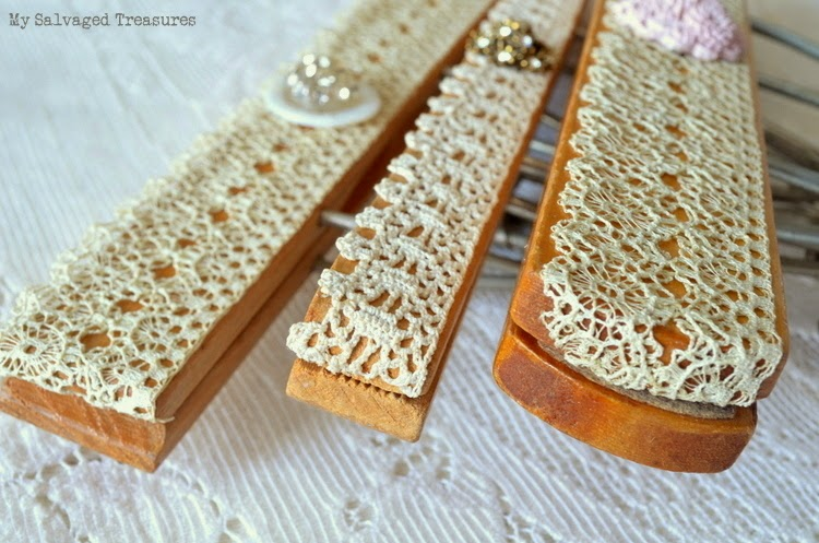 wooden hangers decorated with vintage lace buttons earrings