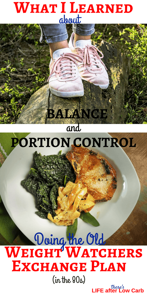 Pinterest Image: Pink Tennis Shoes Balancing on a Log and Pork Chop Dinner with Kale and Fried Apples