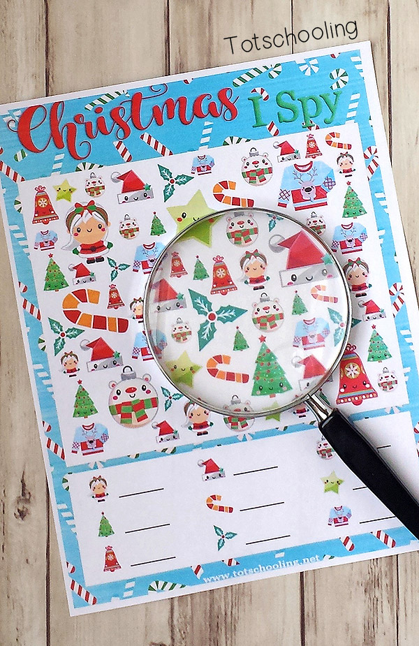 FREE printable I Spy game for Christmas fun. Perfect no-prep, busy activity during the holiday season. Kids will love finding the adorable images that come in different sizes, making it a challenging visual discrimination activity.