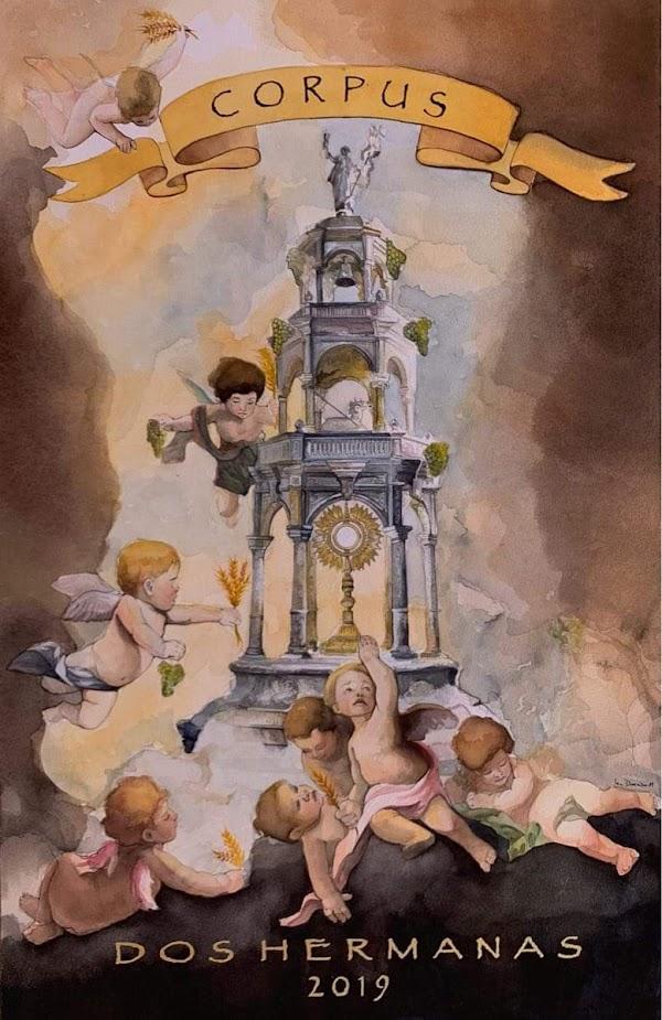 Cartel anuciador del Corpus de Dos Hermanas 2019 obra de Irene Dorado Mirett.