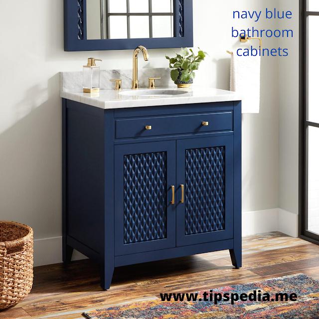 navy blue bathroom cabinets