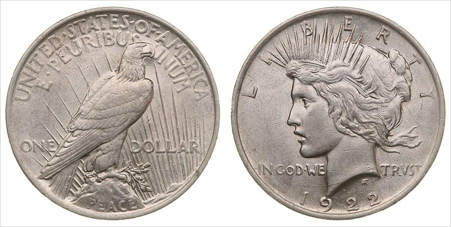 Серебряная монета Мирный доллар