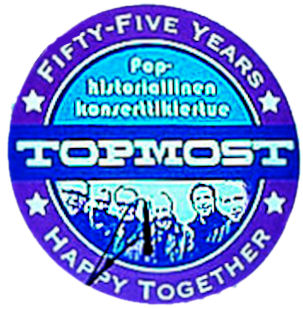 """TOPMOST yhtyeen logo, jossa tuo otsikon teksti """"Happy together""""."""