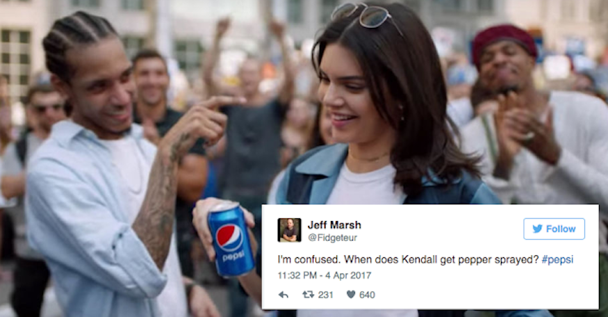Twitter response to Pepsi and Kendall Jenner ad. Pepper spray?
