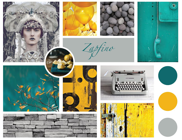 Grids of images, fonts and colors in the colors of turquoise, yellow and grey.