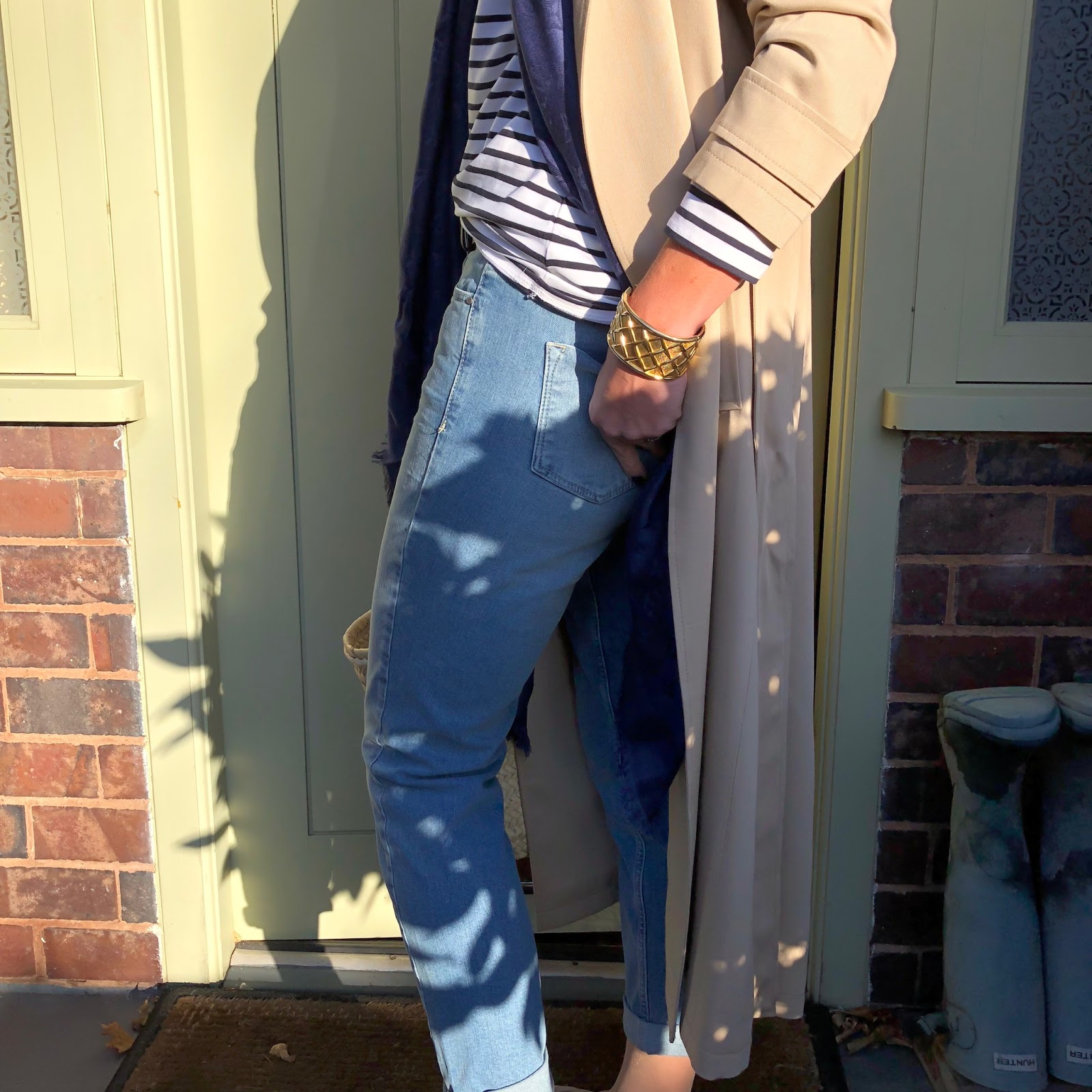 my midlife fashion, the white company, the white company trench coat, the white company brompton boyfriend jeans, the white company suede ballet flats, the white company essential breton top, hawes & curtis fedora felt hat, louis vuitton monogrammed scarf, initially london covent garden shopper basket