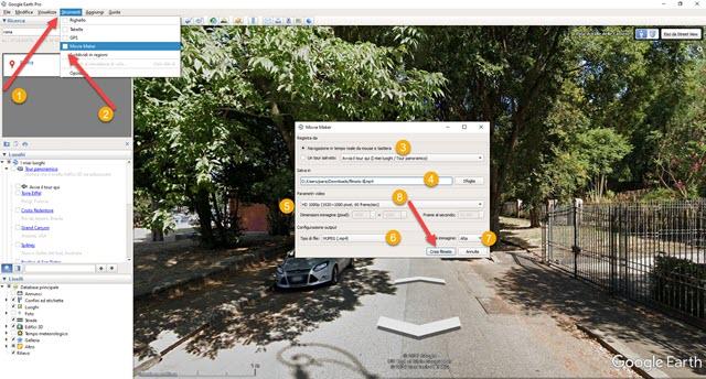 registrazione filmato di street view