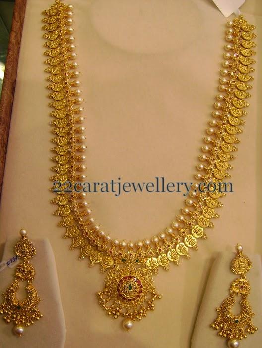 Kasu Mala With Chandbalis 150 Gms Jewellery Designs
