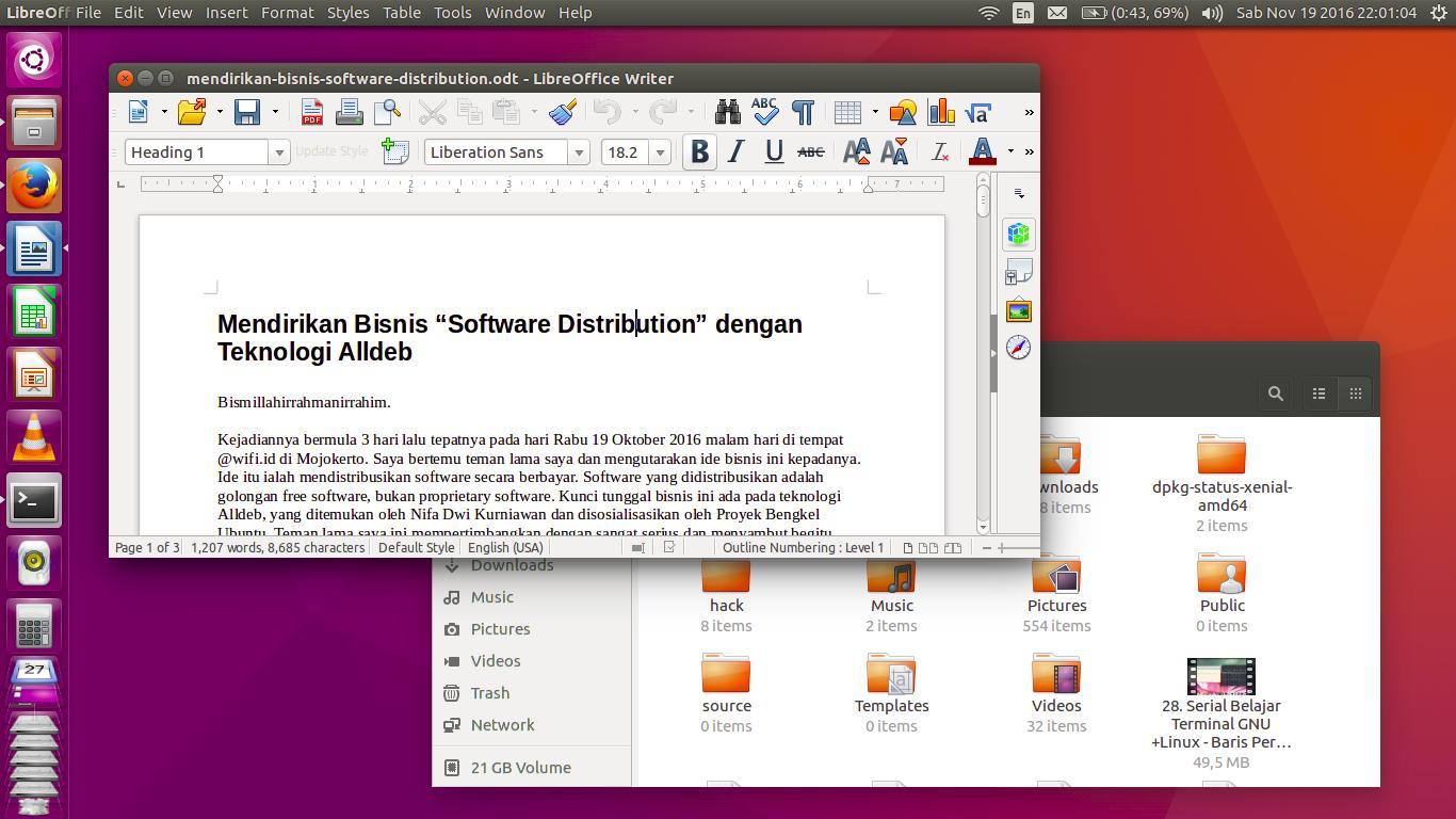 Di dalam menu ubuntu pengguna bisa mencari aplikasi berkas file folder directory audio video dan lain lain