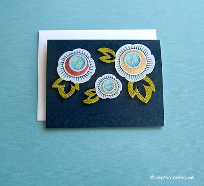 floral folded cards hand embroidered art by SeptemberHouse