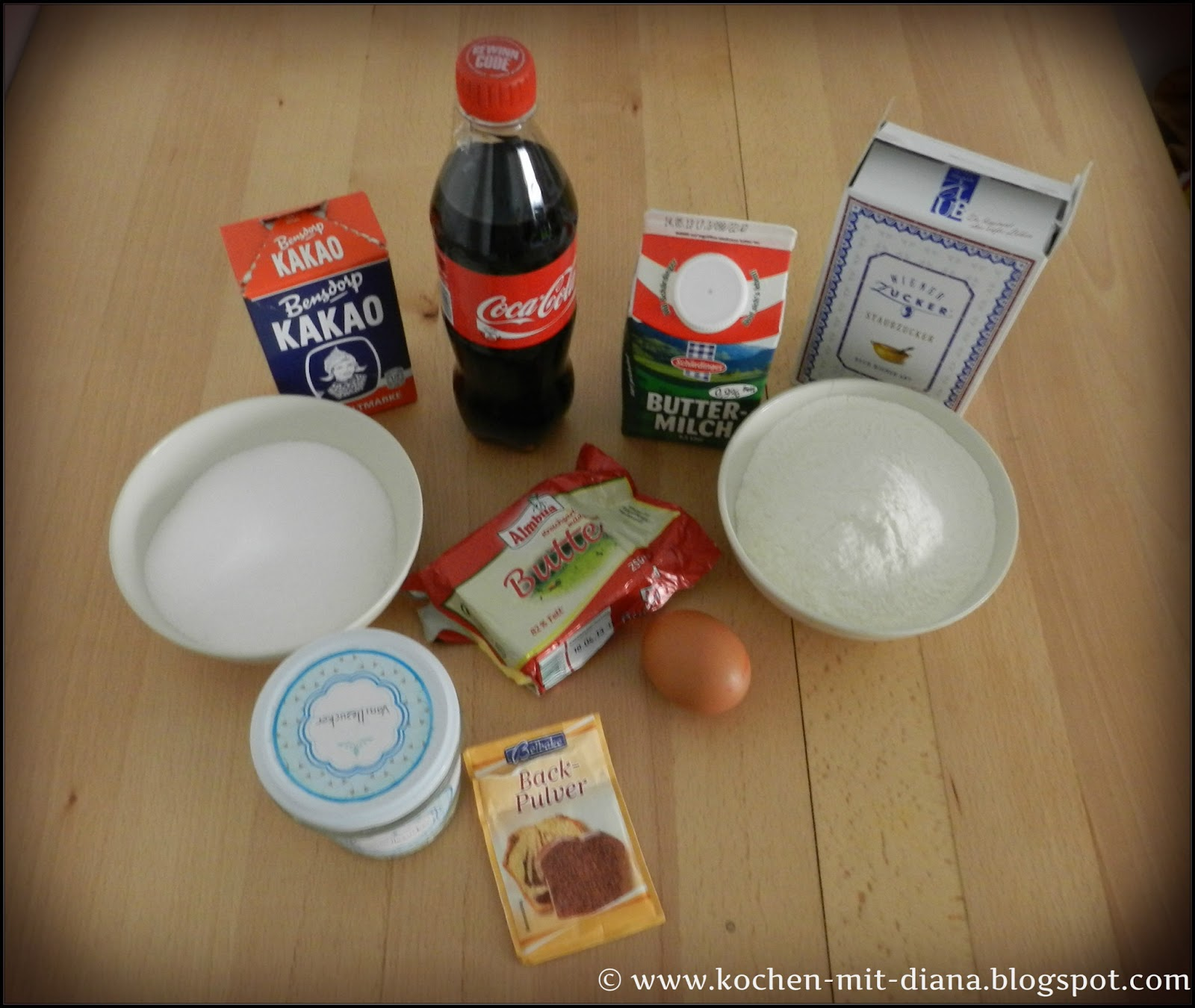 Zutaten Coca-Cola Kuchen