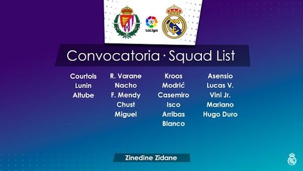 Real Madrid, convocados ante el Valladolid