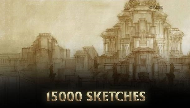 Through a span of 1 year the number of 15000 sketches made as a part of pre-production