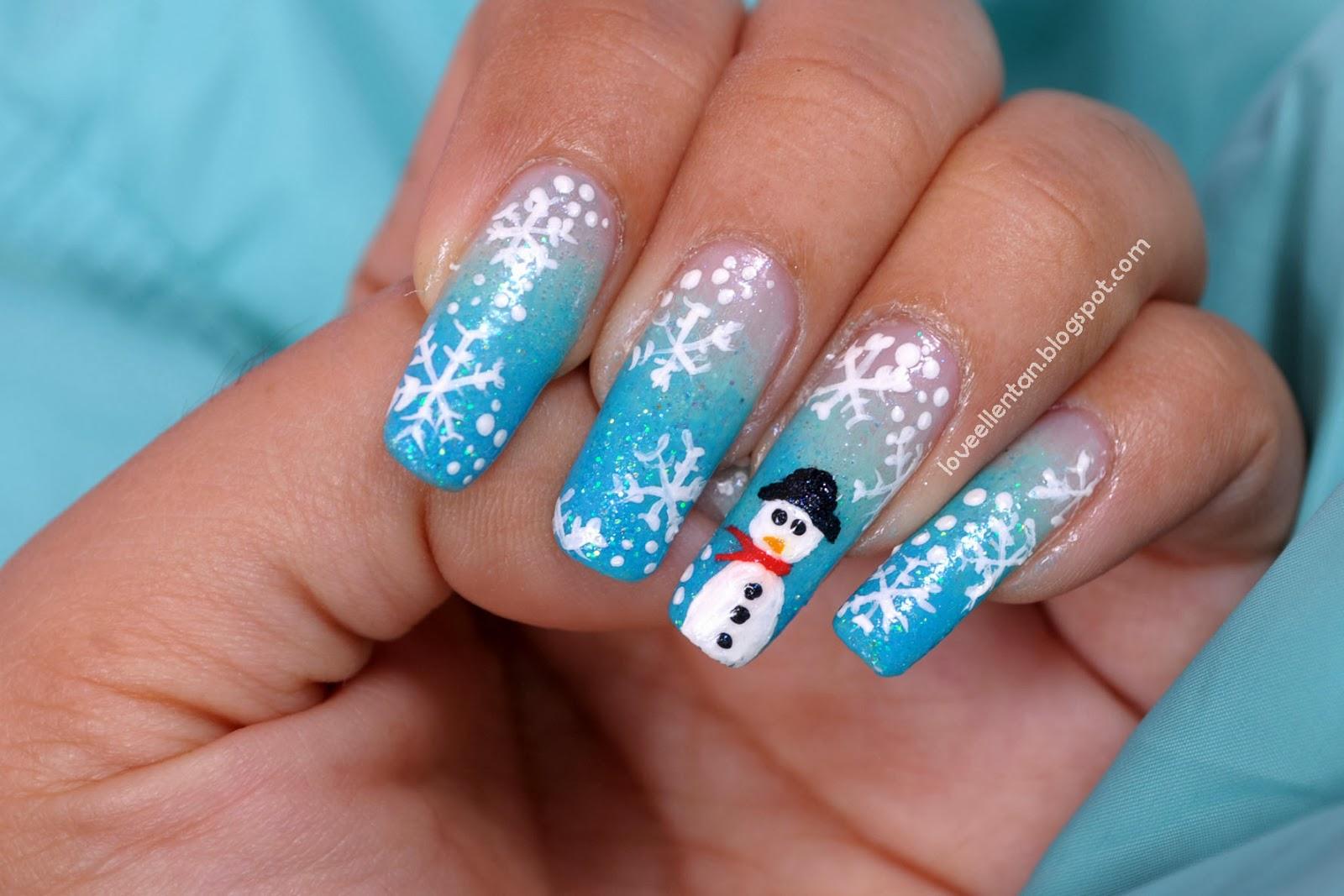 snowflake nail art tutorial loveellentan. Black Bedroom Furniture Sets. Home Design Ideas