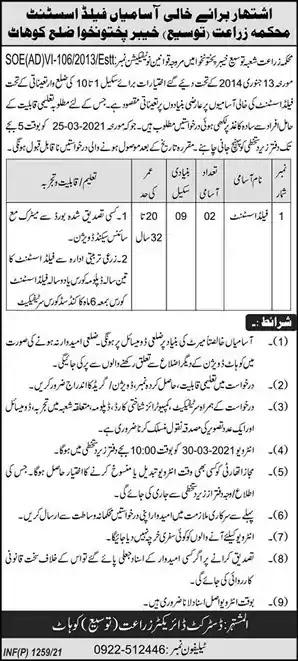 Latest Jobs in Pakistan Agriculture Department Kohat KPK Job 2021