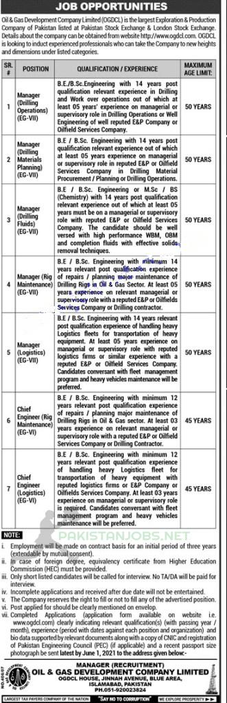 Jobs in Oil and Gas Department Latest 2021