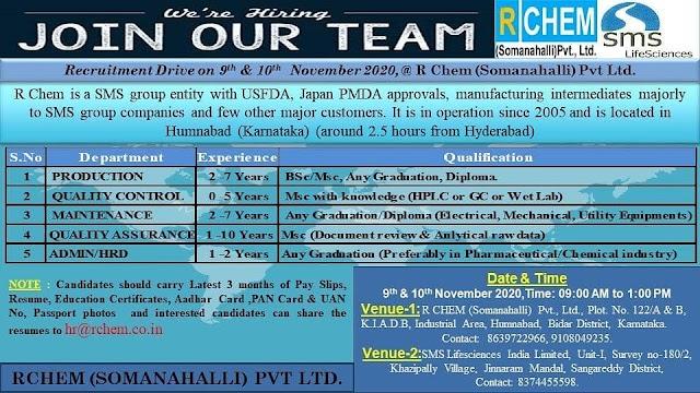 R Chem (SMS Pharma) | Walk-in for Production/QC/QA/Maintenance/Admin/HRD on 9&10 Nov 2020