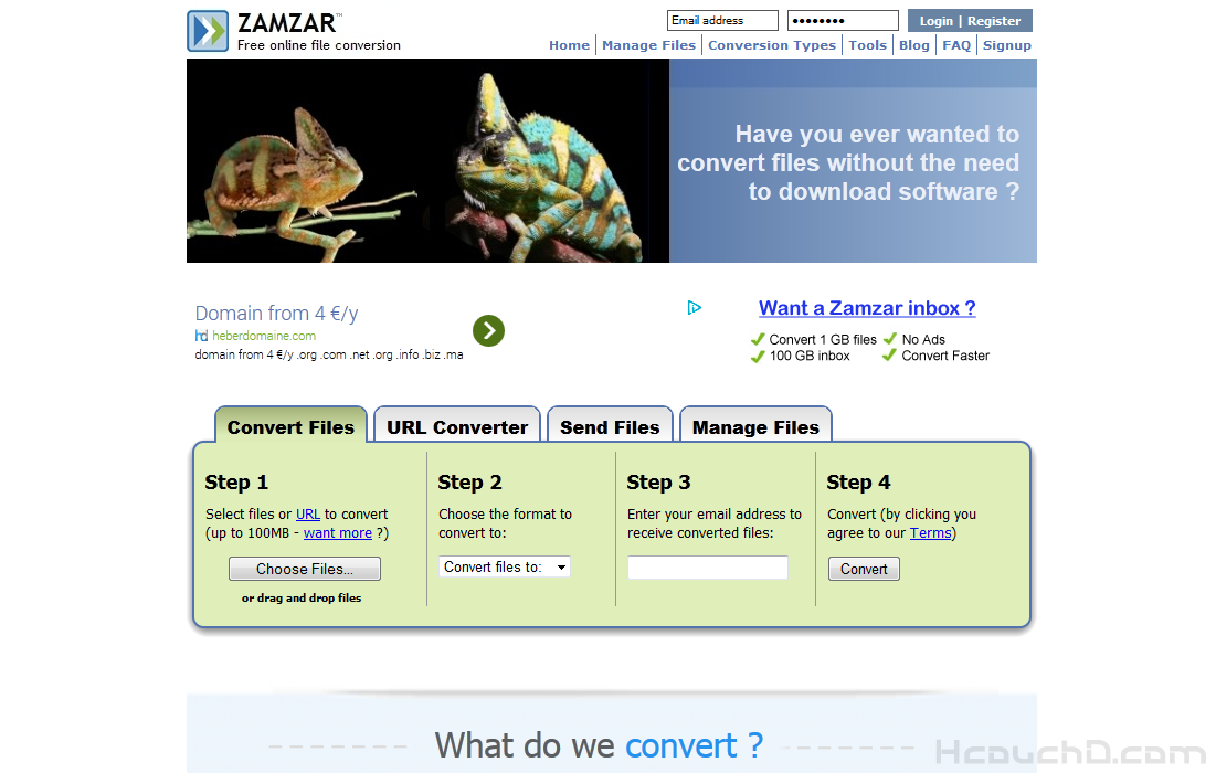 > موقع ZAMZAR :
