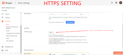 HTTPS REDIRECT SETTING