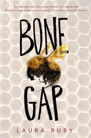 Cover of Bone Gap, featuring a photograph of a bee against a beige honeycomb background.